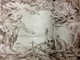 Temptation of St.Anthony of the Desert-drypoint